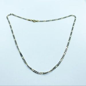 Sterling Silver 925 Figaro Chain Necklace Italy